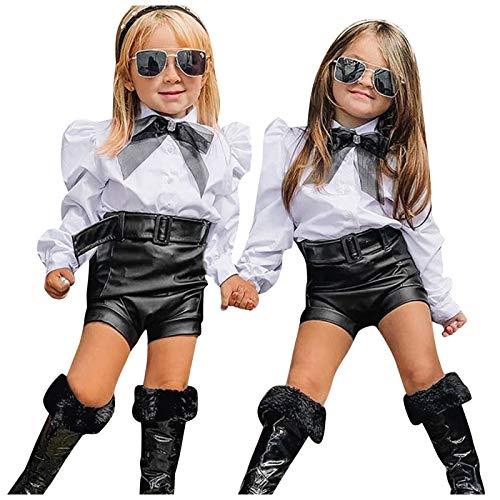 Kinder Mädchen Weiß Hemd Schule Outfits Baby Mädchen Frühling Herbst Langarm Outfits Bowknot Weiß Shirt T-Shirt Tops Leder Shorts Hosen Mode Kinder Sets