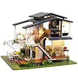 FASJ Casa de muñecas de Bricolaje, Miniatura De Madera Romántico Jardín Casa de muñecas Villa 3D de Tres Pisos 6 Luces LED Movimiento Musical 1:24 Mini Kit de construcción de Casas para niños/Adultos