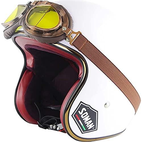 Casco de Cara Abierta Casco de Motocicleta,ECE Homologado Casco Moto Jet Half-Helmet con Visera Casco Abierto de La Motocicleta Scooter Casco para Adultos B,M57~58CM