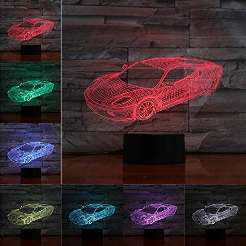 Coche de carreras, luz de noche 3D para niños, niñas, regalo, lámpara de ilusión 3D para dormitorio al lado de la mesa, lámpara de mesa de escritorio con 16 colores cambiantes, regalo para niños