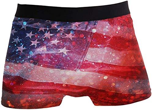 DUTRIX Bóxer Retro con Bandera Americana para Hombre, Ropa Interior, Transpirable, elástico, bóxer con Bolsa