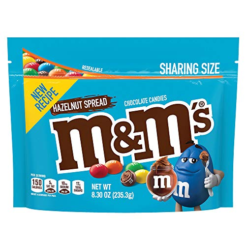 M&M'S, Hazelnut Spread Chocolate Candy in a Resealable Bag, 8.3 oz