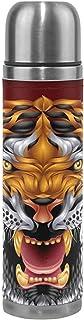 Termo de café Tiger Ciclismo Aislamiento al vacío Frasco de Termo para Hombre Botellas de Agua de Acero Inoxidable + Copa de Bebida + Funda de Cuero Se Adapta a la Mochila Lunchbox 17oz / 500ml