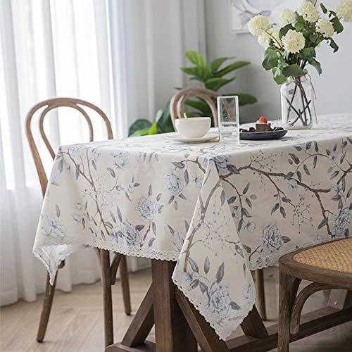 Kuingbhn Mantel de Tela Antimanchas Arte Cotton Linen Printing Disponible en Varias Medidas 90×130cm White Blue