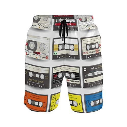 LUPINZ - Pantalones cortos de natación para hombre, diseño de cinta de radio con bolsillos 1 XL