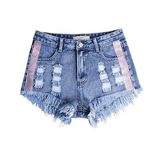 Pantalones Cortos de Mezclilla para Mujer Estilos de Primavera y Verano Europeos y Americanos Pantalones Cortos de Mezclilla de Cintura Alta Rasgados con Personalidad S