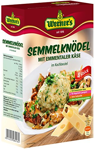 Werner´s Semmelknödel mit Emmentaler Käse, 4 Stück im Kochbeutel, 6 Packungen, ohne Farbstoffe, für Vegetarier geeignet,