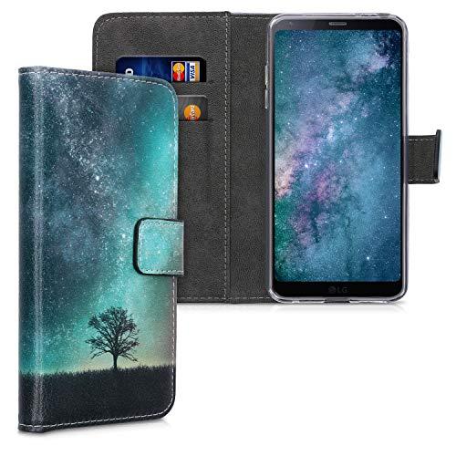 kwmobile Coque Portefeuille Compatible avec LG G6 - Étui à Rabat avec Compartiments Cartes et Fonction Support Arbre Cosmique Bleu-Gris-Noir