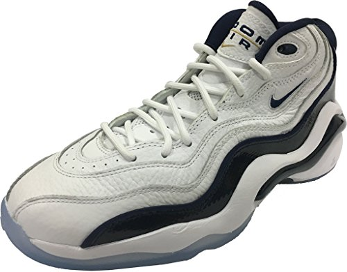 Nike AIR Zoom Flight 96 Mens Basketball-Shoes 884491-103_9.5 - White/Midnight Navy-Metallic Gold-White