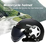 OWSOO KKmoon - Casco de moto para moto, casco abierto, tamaño ajustable, protección para rueda dentada, unisex, estrella de cinco puntas.