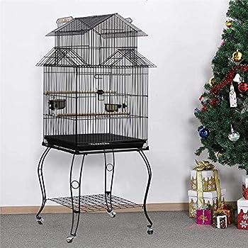 HUOLE Grande Cage Perroquet Volière Oiseaux Métal roulettes Mobile Zone Jeu Cacatoès Perruche Canaris Perroquet,Oiseaux Perroquet Métal 4 roulettes Mobiles,Oiseaux Perroquet Cage Métal,59* 59*139.5cm