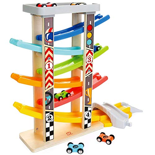 Milly & Ted Mega Wooden Race Track Car Ramp Racer & 6 Cars - Toddler Click Clack Racing Toy Garage - Suitable from 18 Months +