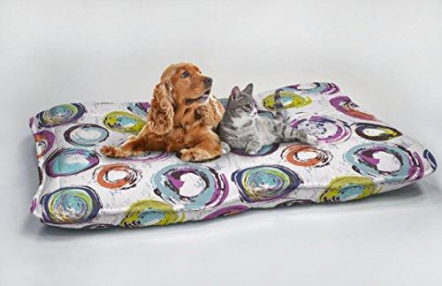 Fantasy Cerchi Astratti Maxy Cuscinone Imbottito per Cani, 60 x 100 cm