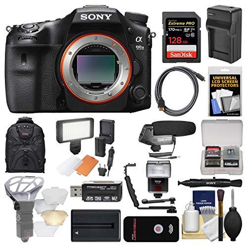 Sony Alpha A99 II Full Frame 4K Wi-Fi Digital SLR Camera Body + 128GB Card + Backpack + Flash + Diffuser + Video Light + Battery & Charger + Mic Kit