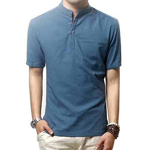 HOEREV Männer lässig Kurzarm Leinen Slim Fit Hemden Beach Shirts,Blau,DE 52 Größe XL