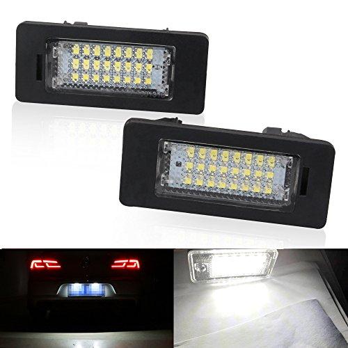 2Pcs Xenon Blanco 18 SMD Licencia número Placa Luz, Lámpara de La Luz de La Matrícula del Coche LED Super Brillante 6000K Para B-M-W 1 3 5 Series X1 X5 X6 M3 Auto lámpara interior