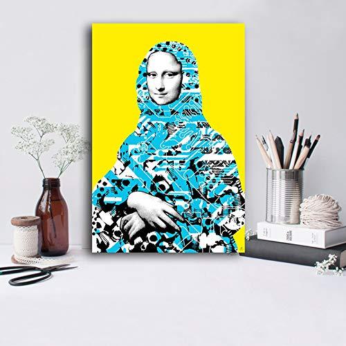 ganlanshu Rahmenlose Malerei Lustiges lächelndes nordisches Wandporträt-Pop-Art-Plakat und druckt WohnzimmerdekorationCGQ7371 40X60cm