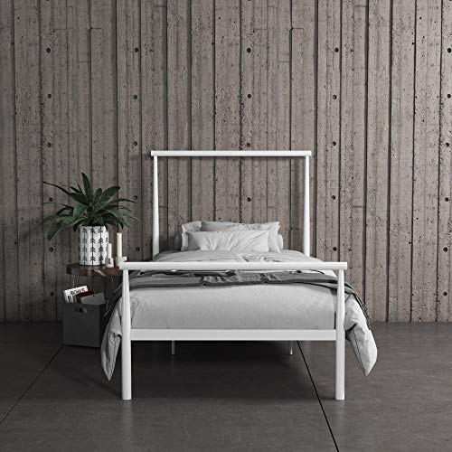 REALROOMS Calixa Modern Metal Platform Bed Frame, Industrial Minimalist Design with Headboard, Twin, White