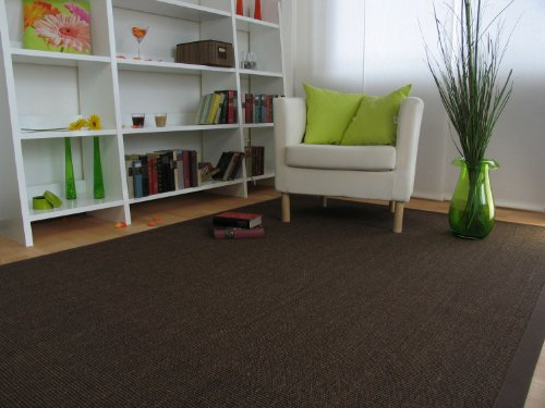 Astra Sisal Teppich Manaus mit Bordüre Farbe dunkel braun coffee 100% Sisal - 18 Größen, Größe: 250x350 cm