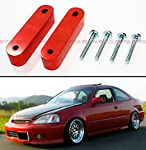 Cuztom Tuning Fits for Honda Civic Eg Ek Em Acura Integra JDM Anodized Red Motor Swap Hood Vent Riser Spacers Kit - One Pair
