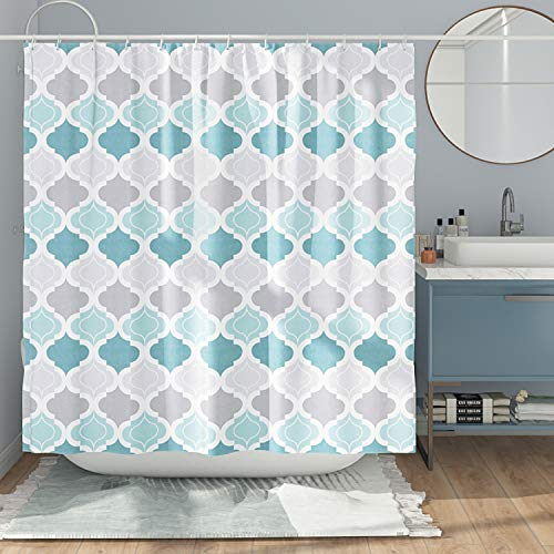 DESIHOM Gray Teal Shower Curtain Geometric Shower Curtain Modern Shower Curtain Moroccan Shower Curtain for Bathroom Spring Decor Polyester Waterproof Shower Curtain 72x72 Inch