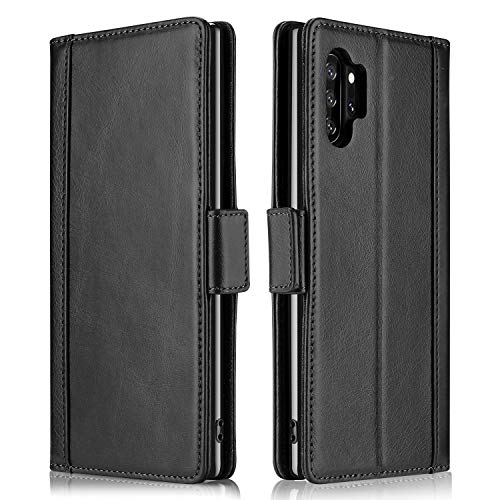 ProCase Galaxy Note 10 Plus Case Flip/Note 10+ 5G Genuine Leather Case?Vintage Wallet Folding Magnetic Protective Cover with Kickstand Card Holders for Galaxy Note 10+ / Note 10 Plus /5G 2019