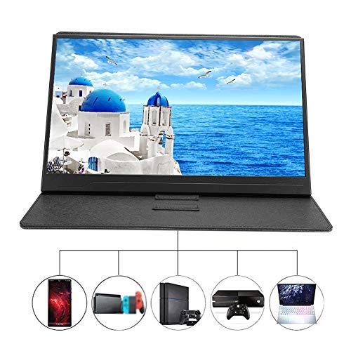 ASHATA draagbare HDMI-monitor met lederen tas, 15,6 inch IPS 1920X1080 16: 9-type C-display W-LED-HDMI-monitor met voor Huawei Matebook voor xiaomi Gamebook voor Dell XPS en andere USB-C-apparaten, met touch