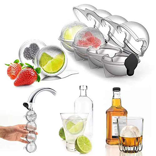 Eiswürfelschalen, Sphere Ice Cube Mould, Silikon-Eisballmaschine mit 4 Kavitäten für Whisky, wiederverwendbar und BPA-frei