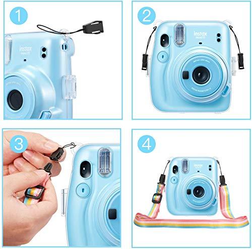 CaseBot Tasche für Fujifilm Instax Mini 11 Sofortbildkamera - Transparent Hart PVC Schutzhülle Reise Kameratasche Hülle Abdeckung mit abnehmbaren Riemen, Crystal Clear