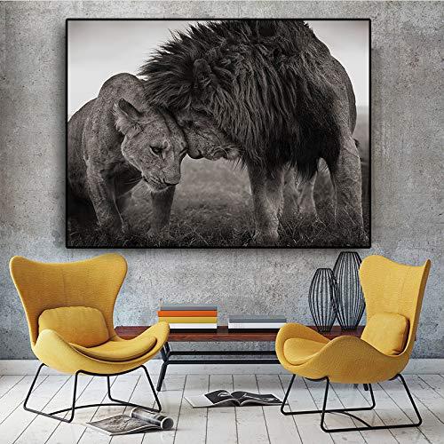 YuanMinglu Löwenkopf und Kopf schwarz und weiß Leinwand Kunst Malerei Plakate und Drucke skandinavischen Wohnzimmer Wandbild rahmenlose Malerei60x80cm