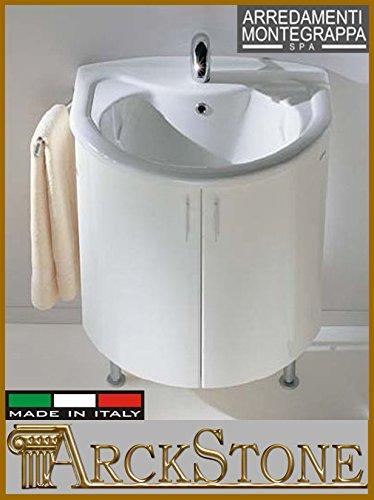 Arredamenti Montegrappa arckstone Waschbecken Mobile Novella 75cm weiß mit Füße Möbel Waschküche Base Holz Spanplatte wasserabweisend Schale MDF mit PVC Türen Spanplatten Griffe Chrom