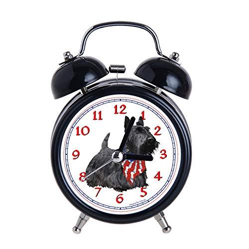 Children's Alarm Clock Vintage Retro Silent Pointer Clocks Round Number Dual Bell Loud Black Alarm Clock Bedside Night Light Home Decors Americana Scotty Dog Watch