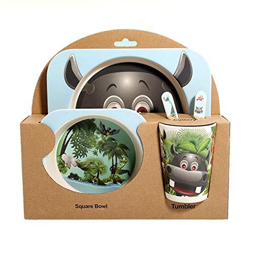 Cxssxling Juego de cubiertos de fibra de bambú para niños Creative Cartoon Rice Bowl Baby Divided Platos de regalo Vajilla de cinco piezas