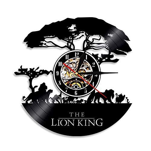 XKAI Reloj de Pared Hecho de Vinilo Reloj con diseño del Rey león diseño upcycling Reloj decoración de Pared Reloj Retro Reloj Retro decoración Familiar para niños Sala de Estar Dormitorio Oficina,B