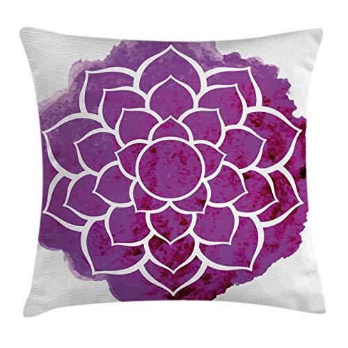 QUEMIN Funda de cojín con diseño de Mandala púrpura, Acuarela, Flor de Loto, meditación de Yoga, Estilo Bohemio, Arte Painbrush, Cuadrado Decorativo de 18'x 18', Blanco Fucsia