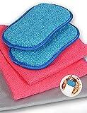 Esponja Cocina 2 Esponja Fregar de Microfibra Que no Raya para Sartenes para freír de Limpieza & Platos+2 Microfibra paños de Limpieza para Cocina+Microfibra paños de Limpieza de Cristal de Polaco
