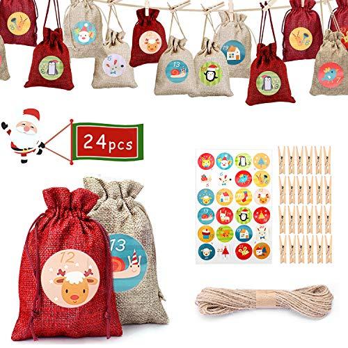NewPI Adventskalender zum Befüllen Kinder, Weihnachtskalender zum Befüllen, Adventskalender Säckchen, Geschenksäckchen, Zahlen-Aufklebern 24 Pcs. (Rot)