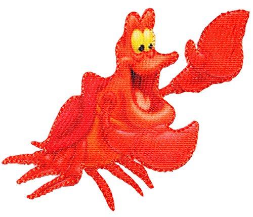 alles-meine.de GmbH Bügelbild -  Disney - Arielle die Meerjungfrau / Krabbe Sebastian  - 10,5 cm * 7 cm - Aufnäher Applikation - Fische / Krabben - Krebs - gewebter Flicken - J..