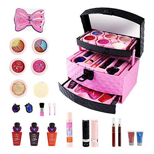 Kids Set Lavable Maquillage, Cosmétiques 23Pcs Cover Kit Poudre, Nail Set Polonais, Glitter Eye Shadow - Idéal pour Les Petites Filles Anniversaire