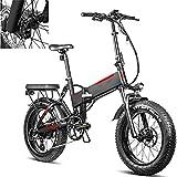 Bicicleta eléctrica Velocidad máxima de conducción 45 km/h Bikes electrica Plegable Bicicleas Iones de Litio 13.6AH Tamaño de llanta 20 * 4.0, Negro