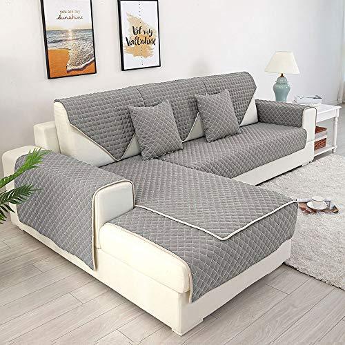 Copridivano angolare antiscivolo per divano Meridienne, copridivano con motivo per divano a penisola rimovibile, per bambini, cani e gatti, grigio, 90x160cm 1pcs