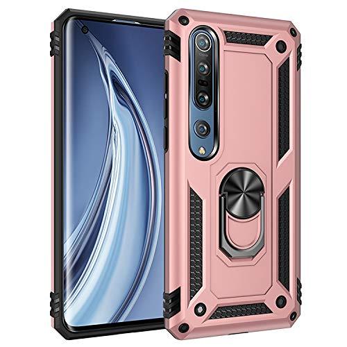 BestST Funda Xiaomi Mi Note 10/Mi Note 10 Pro con Anillo Soporte, con HD Protectores de Pantalla, Rugged TPU y PC Cubierta de Doble Capa Hybrid Carcasa y 360 °Rotación Kickstand 2 en 1 Case. Rose-Oro