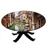 Mantel redondo con bordes elásticos, famosos canales de agua en Italia barcos puente ladrillo arquitectura Old City, diseño de Venecia, para mesas de hasta 91,4 cm de diámetro, color verde
