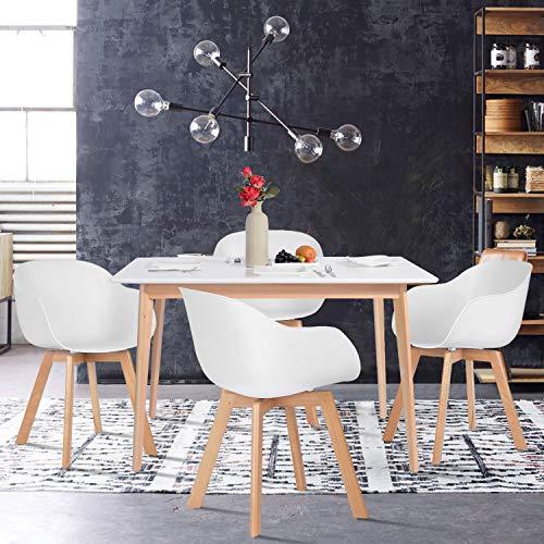 Sep Home Esstisch, rechteckig, für 4 bis 6 Personen, skandinavisch, Blanco und Füße aus Buchenholz,120x70x75CM