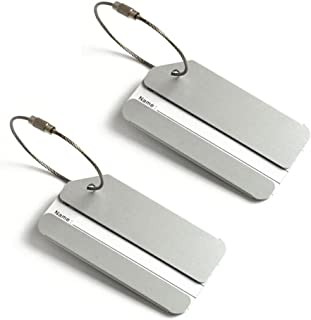 2X Luggage Tags, Aluminium Metal Travel Suitcase ID Identifier Tag Labels Bag Baggage Name Address Label with Screw Chain