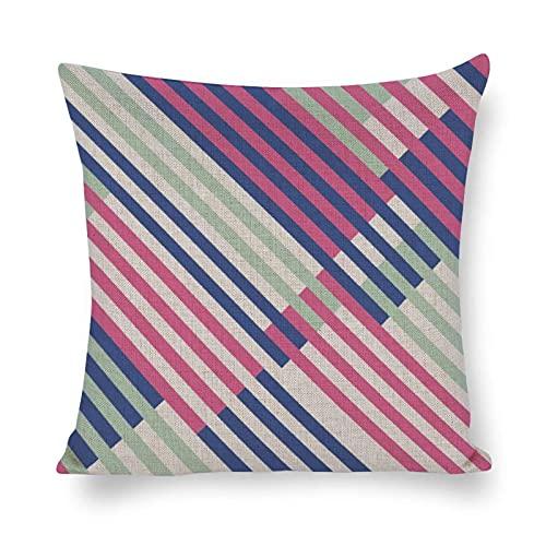 WXM Fundas de almohada de Navidad 2020, 45 x 45 cm, diseño de rayas diagonales, color crema, magenta