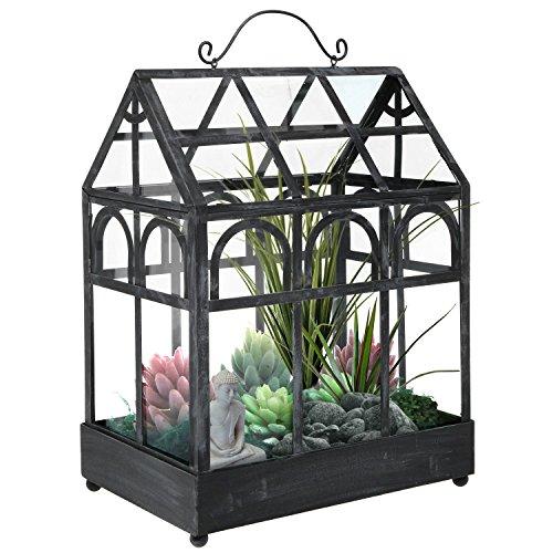 Freistehend Metall & Glas klar Wardian Fall Zimmergewächshaus Garten Übertopf Terrarium Display klassisches schwarz