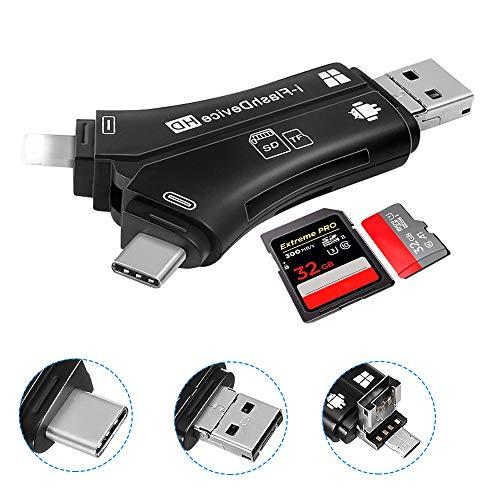 yidenguk SD/Micro Lettore di schede SD, 6-in-1 SD Memory Card Reader e l'adattatore per iPhone Android Phone MacBook