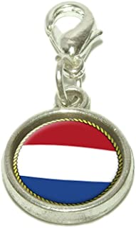 Royal Lion Silver Square Necklace Texas Flag Bluebonnets