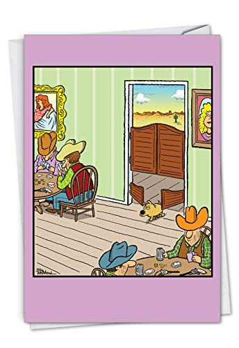 NobleWorks, Saloon Dog Door - Funny Happy Birthday Card with Envelope - Wild West Cartoon, Dog Card for Birthdays C7368BDG